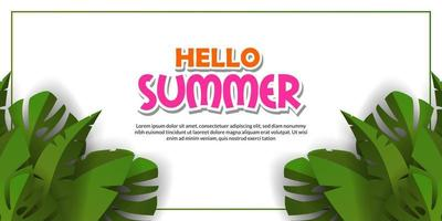 happy hello summer banner template with illustration of frame tropical green leaves with white background vector