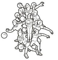 Outline Bowling Sport Female Players vector