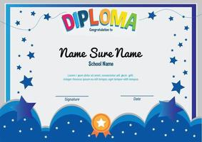 School diploma template certificate kids muslim with flying stars and cloud award apretiation vector