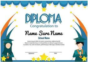 blue graduation student muslim stars flag certificated award school and preschool kindergarten children diploma kids vector