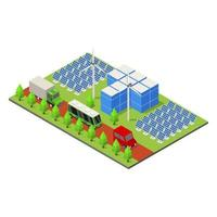 Isometric Ecological City On Background vector
