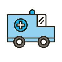 ambulance car vehicle line and fill style icon vector