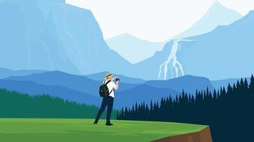 Traveler man in the mountains landscape vector illustration