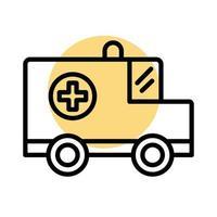 ambulance car vehicle line style icon vector