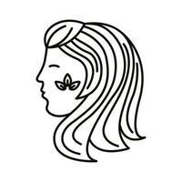 icono de estilo de línea de signo del zodíaco virgo vector