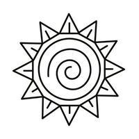 icono de estilo de línea de símbolo del zodíaco del sol vector