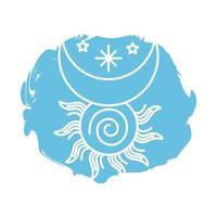 icono de estilo de bloque de símbolo del zodíaco luna y sol vector