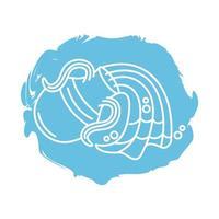 Acuario signo del zodíaco icono de estilo de bloque vector