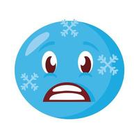 frozen emoji face classic flat style icon vector