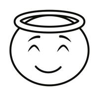 angel emoji face classic line style icon vector