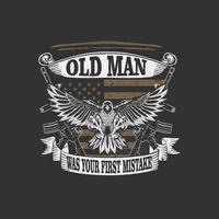 american veteran oldman illustration vector