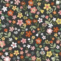Sweet blossom and green leaf on black background seamless pattern vector