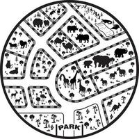 Black and White Zoo Park Mat vector