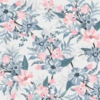 Pink and blue blossom with leaf pattern vector