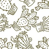 Cactus Pattern Seamless Vector Template