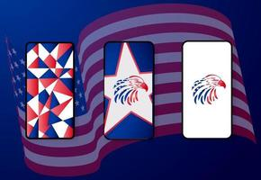 ilustration vector graphic of 4th of july cell phone mockup