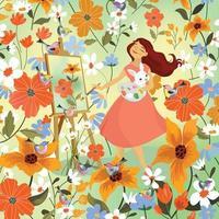 Woman drawing in flower garden vector