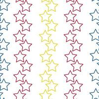 Colorful Little Stars Seamless Pattern on Transparent Background Yellow red and blue colors vector