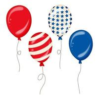 Flying Glossy USA flag pattern Balloons with 4th of July United Stated independence day American national day concept vector illustration