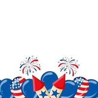 4th of July USA independence day celebration background with balloons flag and confetti Festive border flat lay Vector illustration