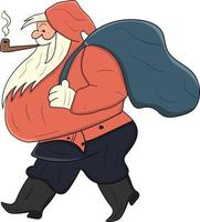 cute santa claus with his pipe perfect for christmas design project vector