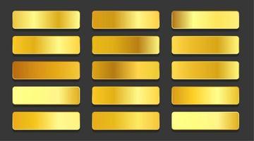 yellow gold gradients metallic gradients set design vector