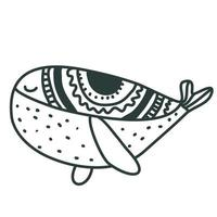 Cute nursery hand drawn whale in scandinavian style Childish print for nursery kids apparel poster postcard Vector Illustration scandi style coloring book drawing for coloring