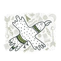 The cute eagle drew a doodle style with an Indian pattern Cute nursery bird in scandinavian style Childish print for nursery kids apparel poster vector