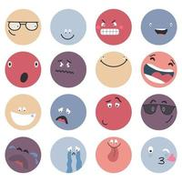 Round abstract comic Faces with various Emotions  Different colorful characters Cartoon style Flat design Emoticons set Emoji faces emoticon smile digital smiley expression emotion feelings chat messenger cartoon emotes vector