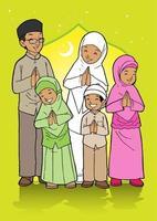 Muslim Family Celebrating Eid Al Fitr vector
