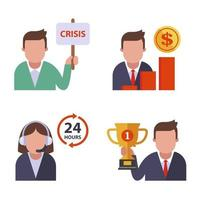 office icons crisis sign sales growth call center golden goblet flat vector illustration