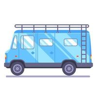 family travel van transport goes on vacation Flat car vector illustration