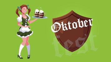 oktoberfest celebration animation with sexi woman and shield photo