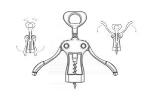 corkscrew in different positions vector