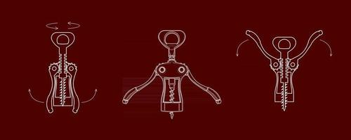 corkscrew open a bottle of wine vector