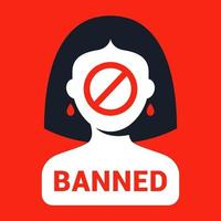 ban picture for women gender discrimination flat vector illustration
