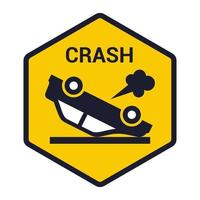 inverted car icon the driver had an accident flat vector illustration