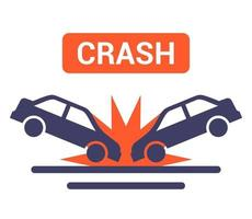 car collision icon on the road flat vector illustration