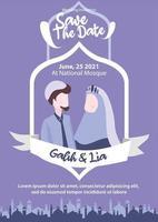 Muslim couple illustration for wedding invitation purple hijab islamic mosque save the date vector