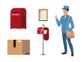 Servicio de correos cartero buzón portapapeles y caja de cartón iconos vector