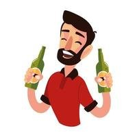 bearded man character with bottles cheers drink alcohol vector