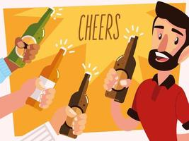 man with a beer glass and cheering hands with bottles vector