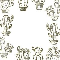 Cactus Frame Empty Template Vector