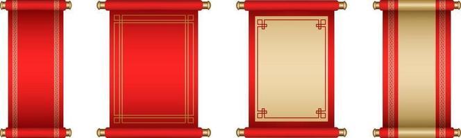 conjunto de pergaminos chinos aislados vector