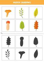 Find shadows of autumn leaves Cards for kids vector
