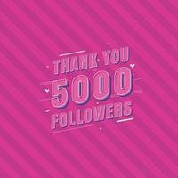 Thank you 5000 Followers celebration Greeting card for 5k social followers vector