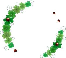 Round vector frame for St Patricks Day A wreath of clover leaves and ladybirds The frame has a place for the text