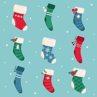 Christmas socks and stockings collection vector
