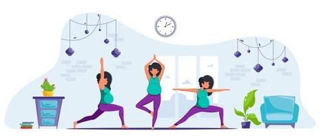 Pregnant woman doing yoga at home Healthy pregnancy and meditation vector