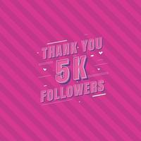 Thank you 5k Followers celebration Greeting card for 5000 social followers vector